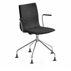 Krzesło konferencyjne OTTAWA, nogi pająka, podłokietniki, czarna tkanina, chrom