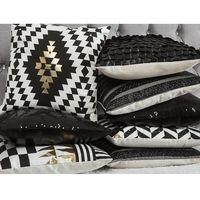 Poduszki, Poduszka dekoracyjna paski bawełniana czarna/złota 45 x 45 cm