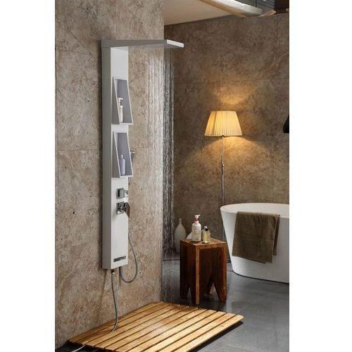 Panel prysznicowy z półkami, kolor biały z słuchawką Tana