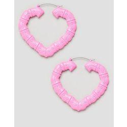 ASOS DESIGN hoop earrings with vintage style bamboo design in pink - Pink