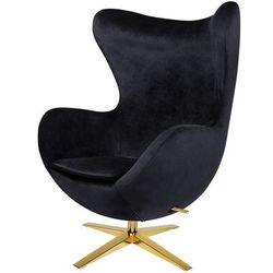 Fotel tapicerowany JAJO EGG SZEROKI VELVET GOLD czarny.50 - welur, podstawa złota