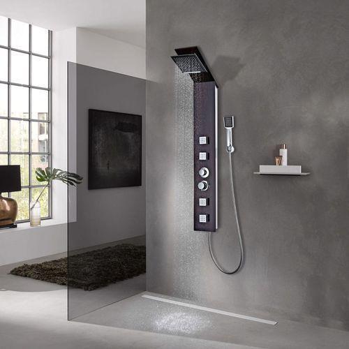 Vidaxl panel prysznicowy, szklany, brązowy