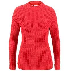 Sweter bonprix czerwono-biel wełny w paski