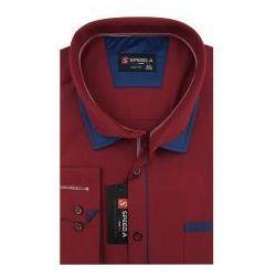 Koszula Męska Speed.A gładka bordowa na długi rękaw duże rozmiary D889