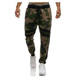 Spodnie męskie dresowe joggery moro-zielone Denley 0877