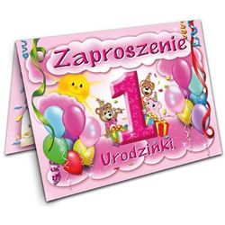 Zaproszenie na roczek Baloniki różowe - 1 szt.