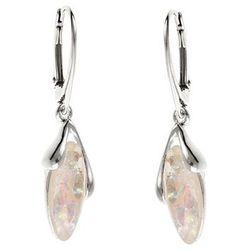 Eleganckie wiszące rodowane srebrne podłużne kolczyki biały opal srebro 925 K2809