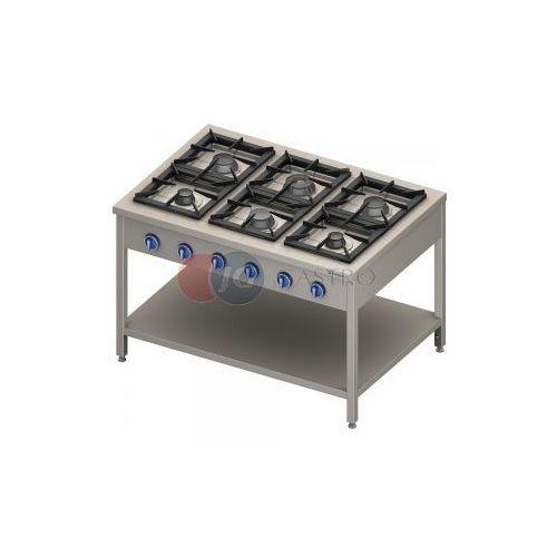 Piece i płyty grzejne gastronomiczne, Kuchnia gazowa wolnostojąca 6-palnikowa z półką 32,5 kW Stalgast 999613