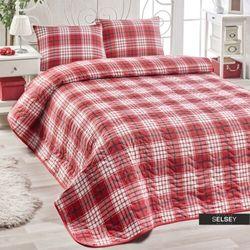 SELSEY Narzuta Chequered 160x220 cm czerwona kratka z poszewką na poduszkę 50x70 cm