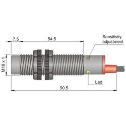 Czujnik pojemnościowy Fi 18 mm SC18SP-CE10 NPN NO+NC LC5