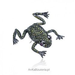 ankabizuteria.pl Oryginalna broszka srebrna zielona żabka