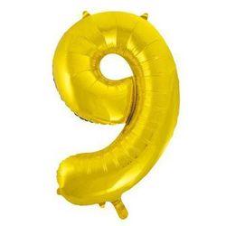 Balon foliowy cyfra dziewięć 9 złota - 86 cm - 1 szt.