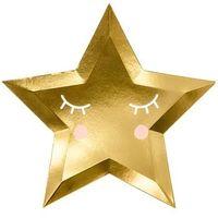 Naczynia jednorazowe, Talerzyki złote Gwiazdki - Little Star - 27 cm - 6 szt.