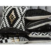 Poduszki, Poduszka dekoracyjna pasiasta skóra ekologiczna czarna 45 x 45 cm