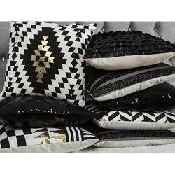 Poduszka dekoracyjna w paski skóra ekologiczna 45 x 45 cm czarna LUNARIA