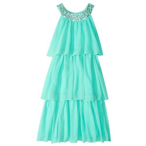 Sukienki dla dzieci, Sukienka dziewczęca z cekinami bonprix niebieski mentolowy