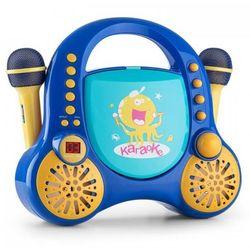 Rockpocket dziecięcy system karaoke CD AUX 2 mikrofony, zestaw naklejek, niebieski