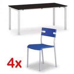 Stół konferencyjny AIR 1600 x 800 mm, wenge + 4x krzesło LINDY GRATIS, niebieski