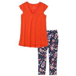 Piżama z legginsami 3/4 bonprix czerwona pomarańcza - ciemnoniebieski z nadrukiem