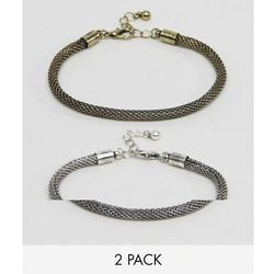 ASOS Mesh Chain Bracelet pack In Burnished Gold And Silver - Multi