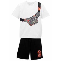Shirt chłopięcy + krótkie spodnie (2 części) bonprix biało-czarny z nadrukiem