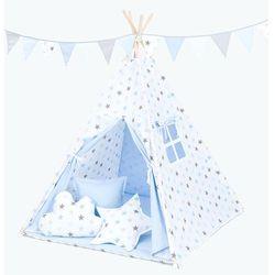 MAMO-TATO Namiot TIPI DUŻY z matą Gwiazdki szare i niebieskie duże / jasny błękit