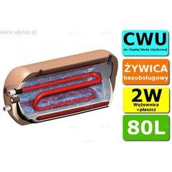 ERMET 80l na 2 źródła ciepła dwupłaszczowy z wężownicą poziomy bojler do CWU - podgrzewacz wymiennik bezobsługowy - WYSYŁKA GRATIS