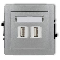 Gniazdo podwójne 2xUSB-AA 7DGUSB-2, srebrny metalik KARLIK DECO