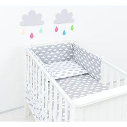 MAMO-TATO Ochraniacz do łóżeczka 70x140 Chmurki szare na bieli / Chmurki białe na szarym