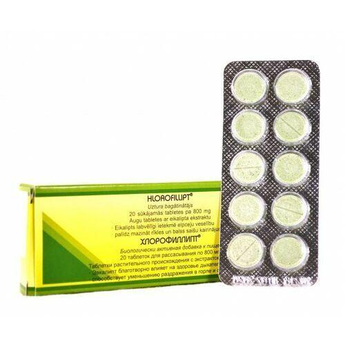Leki na gardło, Chlorofillipt tabletki do ssania (ekstrakt chlorofilu eukaliptusa) 800 mg