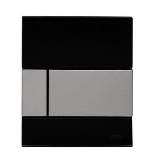 przycisk spłukujący do pisuaru z wkładką zaworową, czarne szkło, przycisk ze stali szczotkowanej tecesquare 9242806 marki Tece