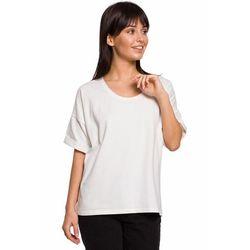 B147 T-shirt oversize z dekoltem i haftem - ecru