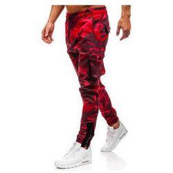 Spodnie męskie joggery bojówki moro-czerwone Denley 0705