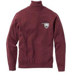 Sweter z golfem Regular Fit bonprix czerwony klonowy