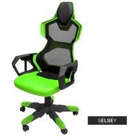 Fotele dla graczy, SELSEY Fotel gamingowy E-Blue Cobra Air czarno-zielony z wentylacją
