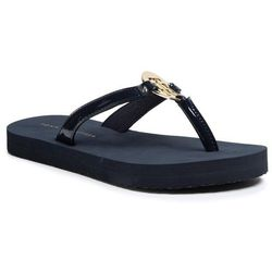 Japonki TOMMY HILFIGER - Feminine Patent Beach Sandal FW0FW04803 Desert Sky DW5