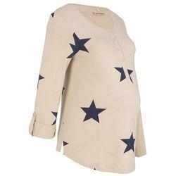 Shirt ciążowy i do karmienia bonprix beżowo-niebieski z nadrukiem