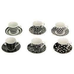 Dekoria Zestaw filiżanek do espresso Geo Black&White, 34 × 15 × 7 cm