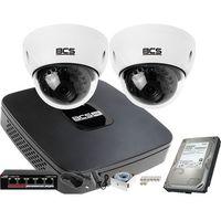 Zestawy monitoringowe, 2x BCS-DMIP3200IR-E-IV FullHD zestaw monitoringu BCS-NVR04015ME-II Dysk 1TB Akcesoria