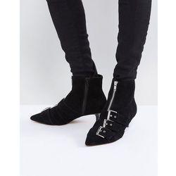 ASOS REVELATION Suede Heeled Ankle Boots - Black