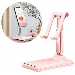 Biurkowy teleskopowy stojak składana podstawka na telefon tablet różowy - Różowy