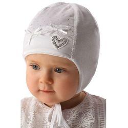 Biała czapka niemowlęca wiązana 5X34A3 Oferta ważna tylko do 2022-06-10