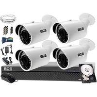 Zestawy monitoringowe, Monitoring BCS komplet BCS-CVR0401-X + 4x Kamera BCS-THC3130IR-E + Dysk 1TB + akcesoria