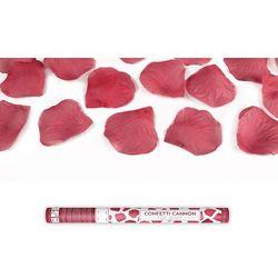 Tuba strzelająca, bordowe sztuczne płatki róż, 60cm, 1 szt.