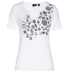 Shirt, krótki rękaw bonprix biały w kwiaty
