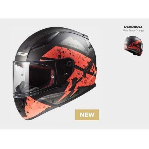 Kaski motocyklowe, KASK MOTOCYKLOWY KASK LS2 FF353 RAPID DEADBOLT BLACK/ORANGE, model 2018!
