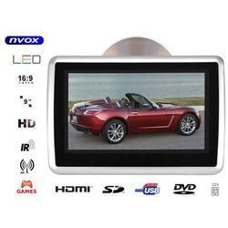 """Monitor samochodowy zagłówkowy LED 9"""" HD z HDMI DVD USB SD IR FM GRY 12V"""