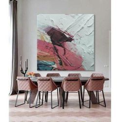 ROSSO - obraz z grubą strukturą w soczystych barwach abstrakcja do salonu rabat 35%