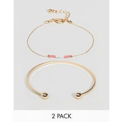 ASOS DESIGN pack of 2 double row bead chain and cuff bracelets - Gold