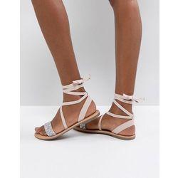 ASOS FI Embellished Flat Sandals - Beige